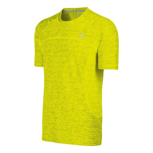 Mens ASICS Lite-Show Short Sleeve Technical Tops - Safety Yellow XL