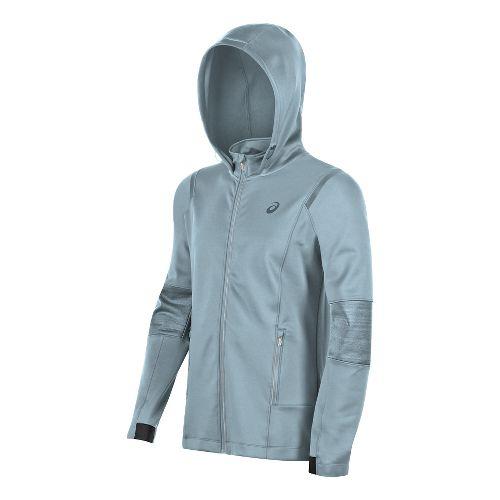 Mens ASICS Lite-Show Winter Rain Jackets - Light Grey M