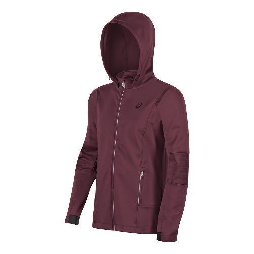 Mens ASICS Lite-Show Winter Rain Jackets - Dark Red XL