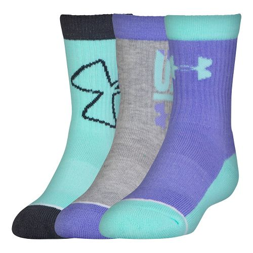 Under Armour Kids Next Crew 3 pack Socks - Violet Storm L