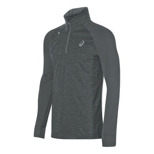 Mens ASICS Thermopolis 1/2 Zip Long Sleeve Technical Tops - Dark Grey Heather L