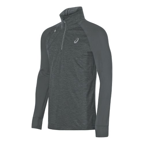 Mens ASICS Thermopolis 1/2 Zip Long Sleeve Technical Tops - Dark Grey Heather XL