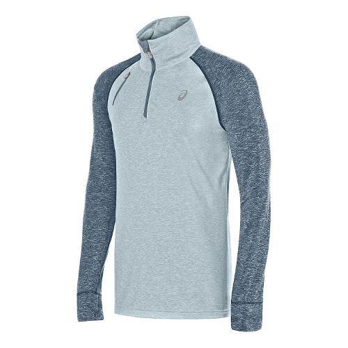 Mens ASICS Thermopolis 1/2 Zip Long Sleeve Technical Tops - Light Grey Heather L