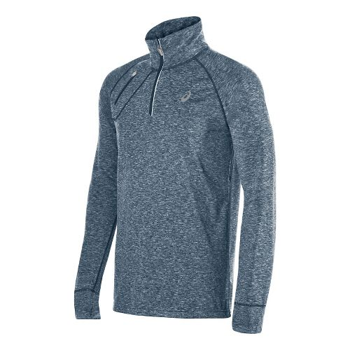 Mens ASICS Thermopolis 1/2 Zip Long Sleeve Technical Tops - Blue Heather S