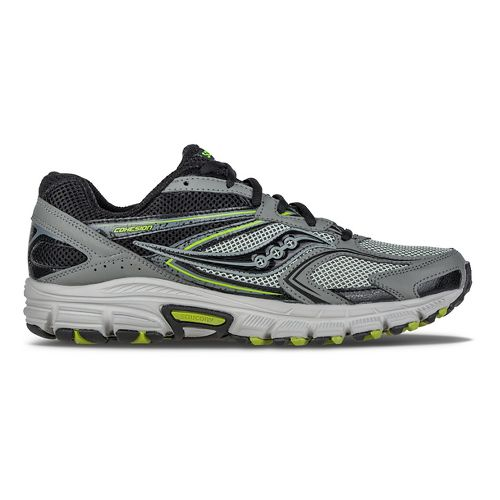 Mens Saucony Cohesion TR9 Trail Running Shoe - Grey/Black/Lime 7