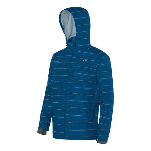 Mens ASICS Storm Shelter Rain Jackets - Blue L