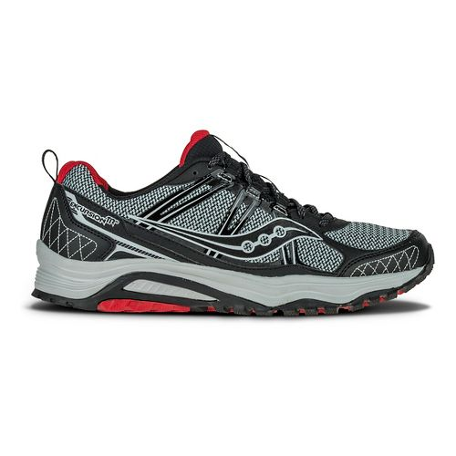 Mens Saucony Excursion TR10 Trail Running Shoe - Grey/Black/Red 9