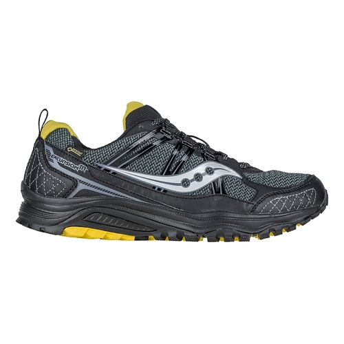 Mens Saucony Excursion TR10 GTX Trail Running Shoe - Black/Yellow 7.5