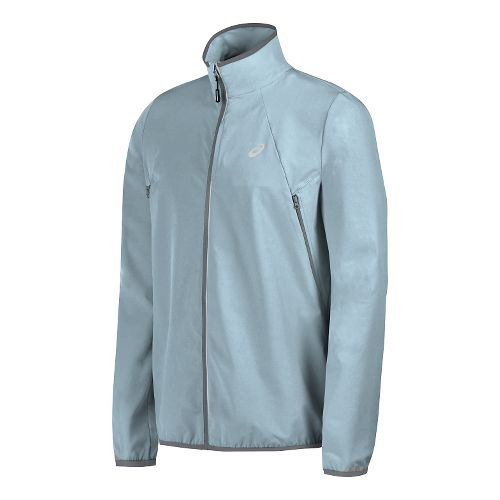 Mens ASICS Lightweight Woven Running Jackets - Light Grey L