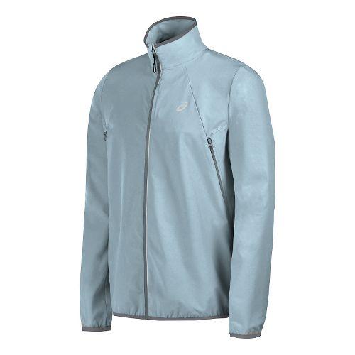 Mens ASICS Lightweight Woven Running Jackets - Light Grey XL