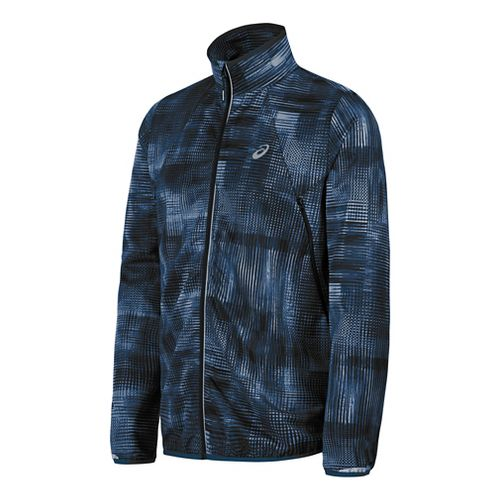 Mens ASICS Lightweight Woven Running Jackets - Blue Print XXL
