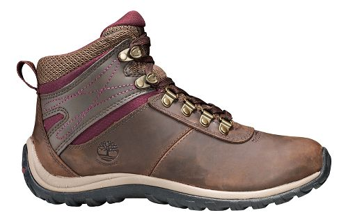 Womens Timberland Norwood Mid Waterproof Hiking Shoe - Dark Brown/Red 10