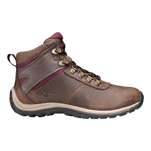 Womens Timberland Norwood Mid Waterproof Hiking Shoe - Dark Brown/Red 9.5