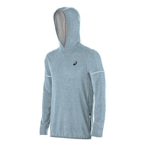 Mens ASICS Lightweight Fleece Hoodie & Sweatshirts Technical Tops - Blue Heather M