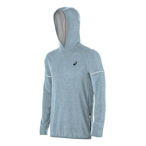 Mens ASICS Lightweight Fleece Hoodie & Sweatshirts Technical Tops - Blue Heather XL