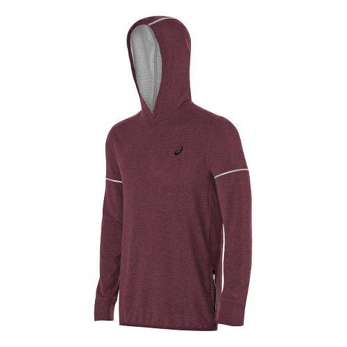 Mens ASICS Lightweight Fleece Hoodie & Sweatshirts Technical Tops - Red Heather S