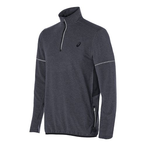 Mens ASICS Lightweight Fleece 1/2 Zip Long Sleeve Technical Tops - Grey Heather M