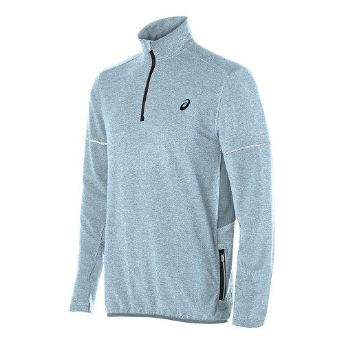 Mens ASICS Lightweight Fleece 1/2 Zip Long Sleeve Technical Tops - Blue Heather M
