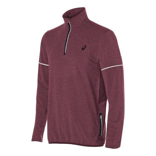 Mens ASICS Lightweight Fleece 1/2 Zip Long Sleeve Technical Tops - Red Heather XL
