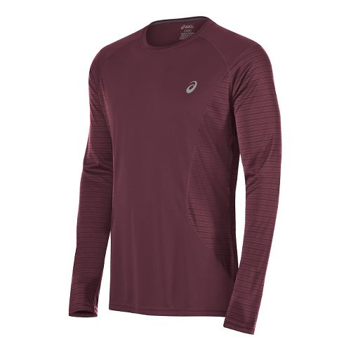 Mens ASICS Favorite Printed Long Sleeve Technical Tops - Dark Red M