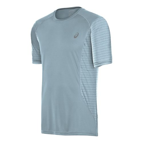 Mens ASICS Favorite Printed Short Sleeve Technical Tops - Light Grey M