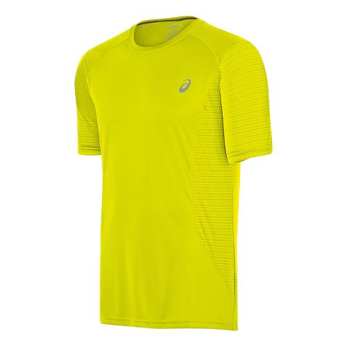 Mens ASICS Favorite Printed Short Sleeve Technical Tops - Safety Yellow XL