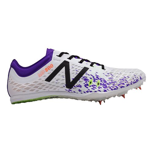 Womens New Balance MD800v5 Track and Field Shoe - White/Purple 8.5