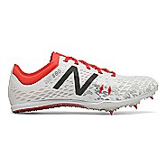 Womens New Balance MD800v5 Track and Field Shoe - White/Flame 9