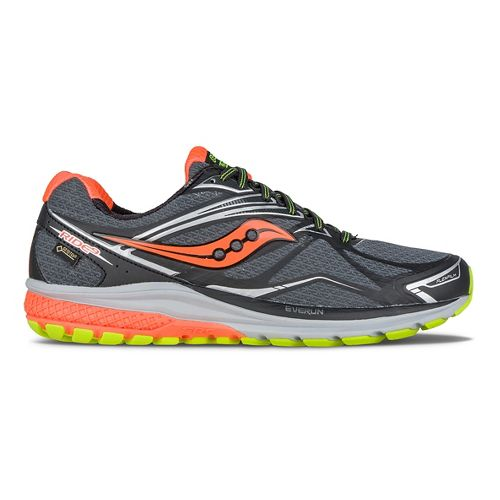Mens Saucony Ride 9 GTX Running Shoe - Black/Slime/Orange 8.5