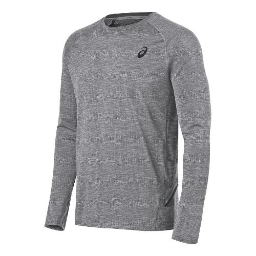Mens ASICS Mesh Crew Long Sleeve Technical Tops - Performance Black M