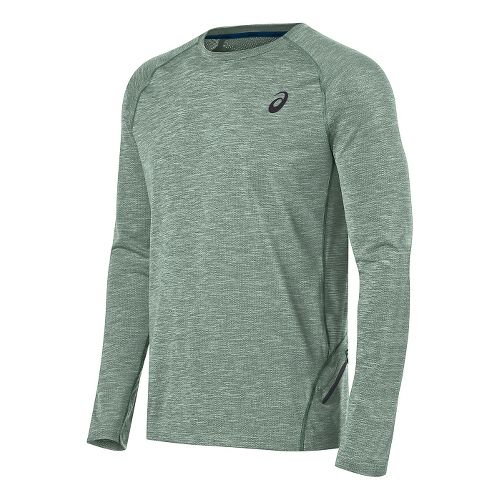 Mens ASICS Mesh Crew Long Sleeve Technical Tops - Green M