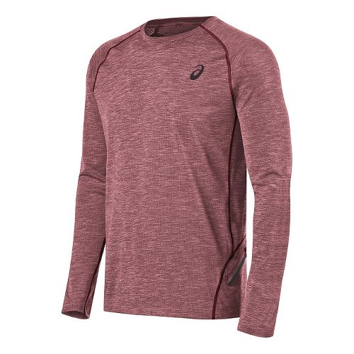 Mens ASICS Mesh Crew Long Sleeve Technical Tops - Red L