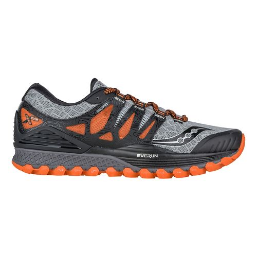 Mens Saucony Xodus ISO Trail Running Shoe - Grey/Orange/Black 13
