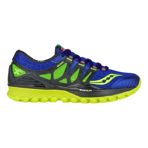 Mens Saucony Xodus ISO Trail Running Shoe - Blue/Black/Citron 7.5