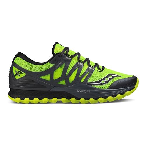 Mens Saucony Xodus ISO Trail Running Shoe - Citron/Grey 12