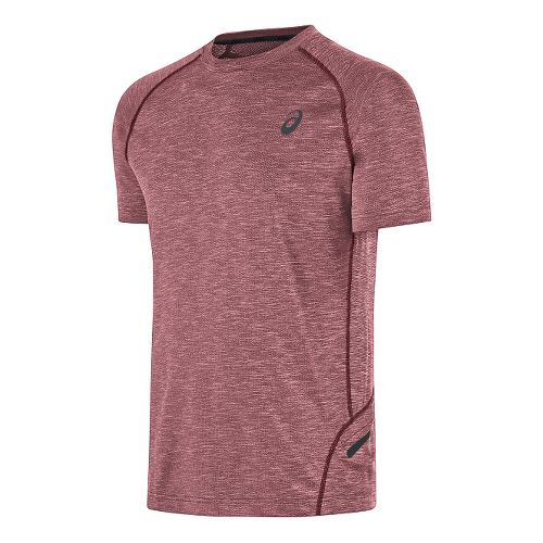 Mens ASICS Mesh Crew Short Sleeve Technical Tops - Red M