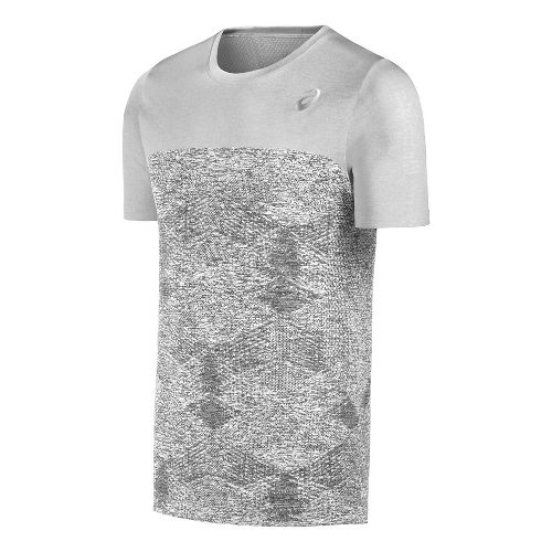 Mens ASICS Seamless Short Sleeve Technical Tops - Grey L