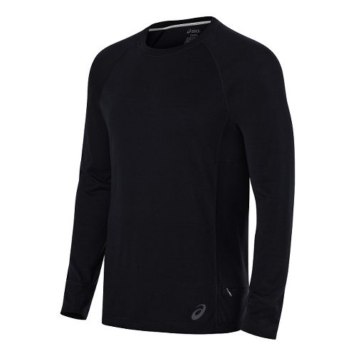 Mens ASICS Long Sleeve Technical Tops - Performance Black L
