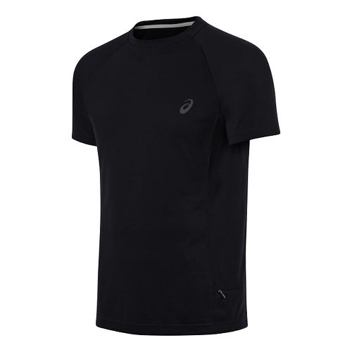 Mens ASICS Crew Short Sleeve Technical Tops - Performance Black XL