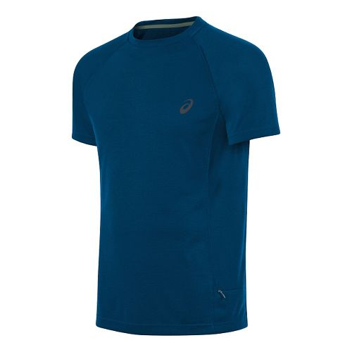 Mens ASICS Crew Short Sleeve Technical Tops - Blue L