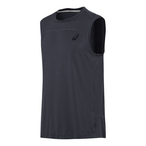 Mens ASICS Ministripe Sleeveless & Tank Technical Tops - Performance Black M