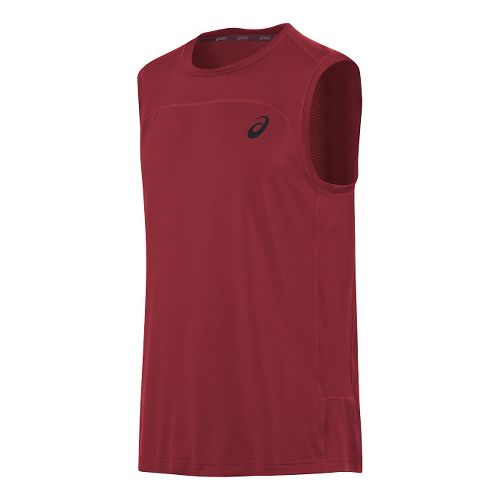 Mens ASICS Ministripe Sleeveless & Tank Technical Tops - Red XXL