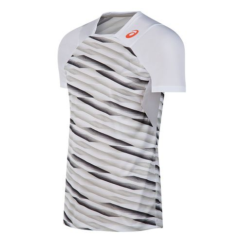 Mens ASICS Athlete Short Sleeve Technical Tops - White L