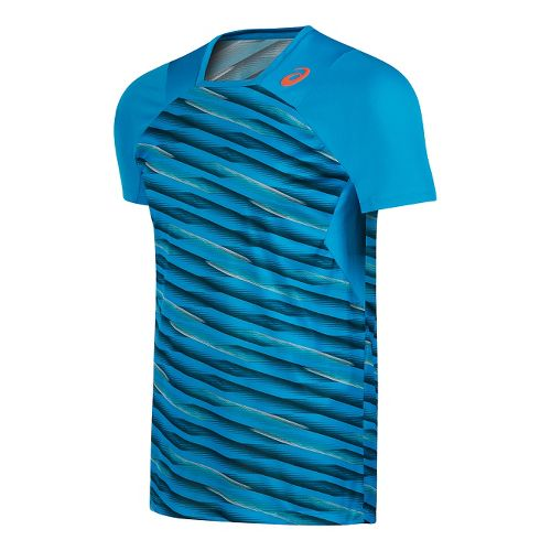 Mens ASICS Athlete Short Sleeve Technical Tops - Blue L