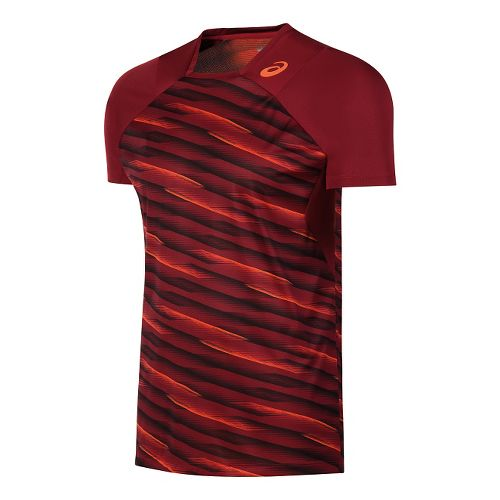 Mens ASICS Athlete Short Sleeve Technical Tops - Red L