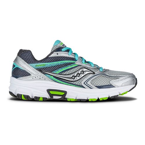 Womens Saucony Cohesion  9 Running Shoe - Grey/Blue/Citron 6.5