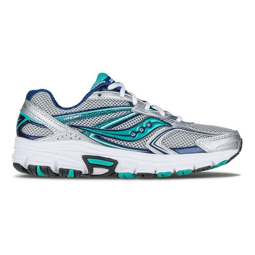 Womens Saucony Cohesion  9 Running Shoe - Silver/Navy/Teal 6.5