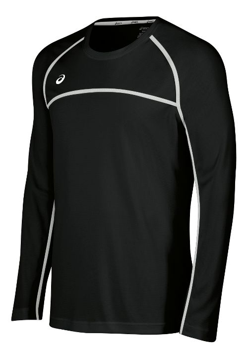 Mens ASICS Conform Long Sleeve Technical Tops - Black/White XL