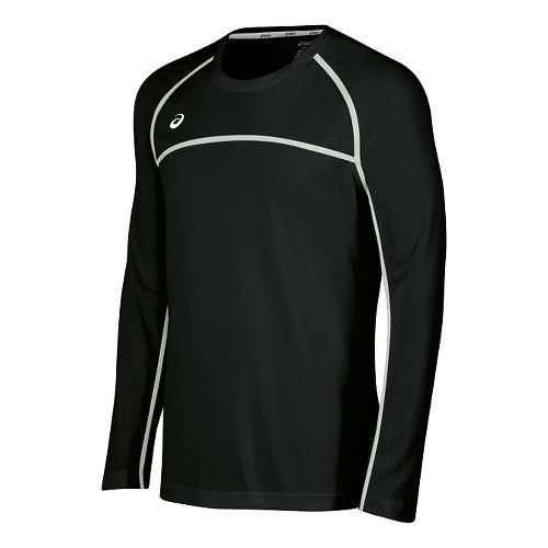 Mens ASICS Conform Long Sleeve Technical Tops - Black/White L