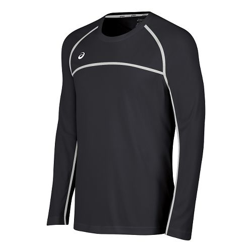 Mens ASICS Conform Long Sleeve Technical Tops - Grey/White M